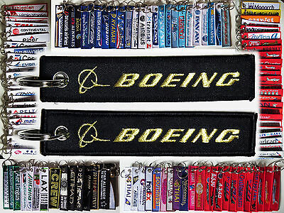 Keyring BOEING CO. Black with Gold letters/ logo baggage tag label keychain