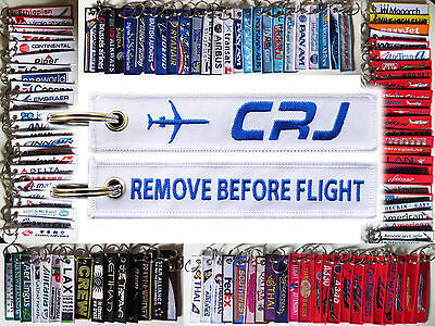 Keyring Bombardie CRJ White Remove Before Flight baggage tag keychain for Pilot