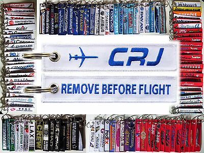 Keyring Bombardier CRJ White Remove Before Flight baggage tag keychain for Pilot