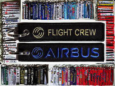 Keyring AIBUS FLIGHT CREW Black/ Gold / Blue baggage tag keychain for Pilot