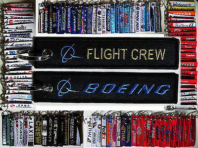 Keyring BOEING FLIGHT CREW Black/ Gold / Blue baggage tag keychain for Pilot