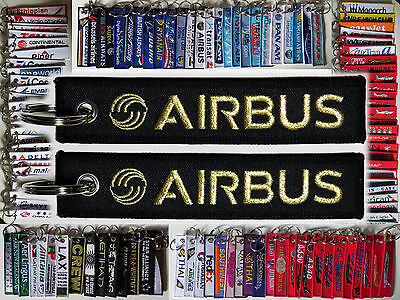 Keyring AIRBUS Co Black/ Gold / Blue baggage tag keychain for Pilot
