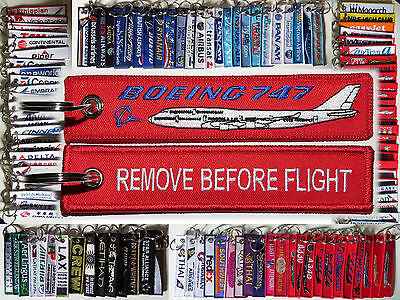 Keyring Boeing 747 Jumbo Jet RED Remove Before Flight tag keychain pilot B747