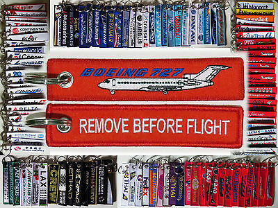 Keyring Boeing 727 RED Remove Before Flight tag label keychain for pilot