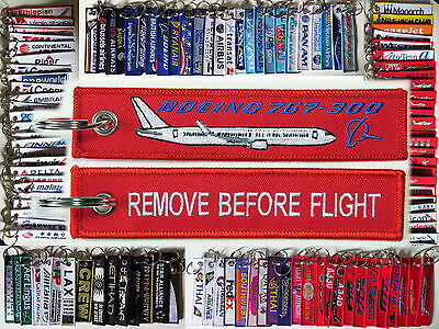 Keyring Boeing 767 767-300 RED Remove Before Flight tag label keychain for pilot