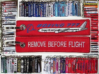 Keyring Boeing 777 777-300 RED Remove Before Flight tag label keychain for pilot
