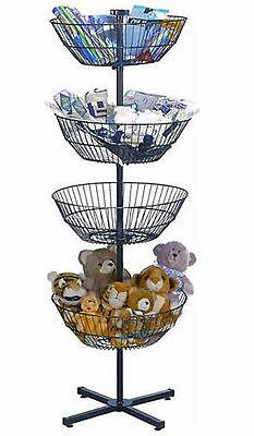 "Wire Spin Basket Store Display Rotating Tiered Dump Bin Rack 4 63"" Free Standing"