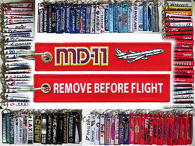 Keyring McDonnell Douglas MD-11 Remove Before Flight tag keychain pilot