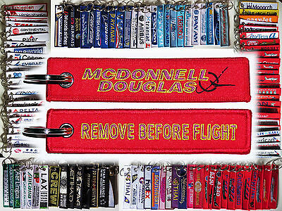 Keyring McDonnell Douglas Company Remove Before Flight tag keychain pilot