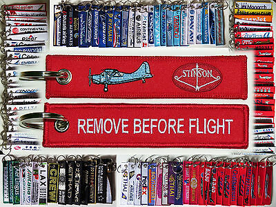 Keyring Stinson Airplanes Remove Before Flight tag keychain pilot