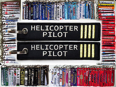 Keyring HELICOPTER PILOT Black/Silver/Gold keychain tag label for pilot