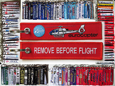 Keyring HELICOPTER Airbus Eurocopter EC-130 keychain Remove Before Flight pilot