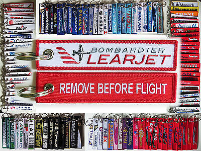 Keyring Bombardier Learjet keychain Remove Before Flight pilot