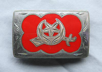 Vintage Wil Aren Hand Made Engraved Shriners Inlay Western Belt Buckle