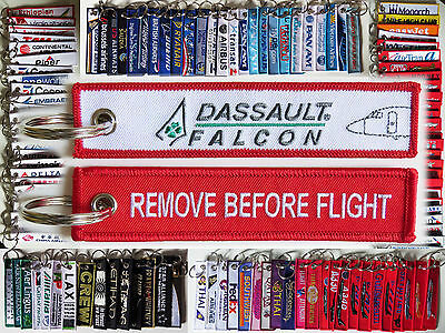 Keyring DASSAULT FALCON Remove Before Flight tag label for pilot