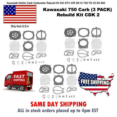 3 Pack Kawasaki Keihin Carb Carburetor Rebuild Repair Kit 900 1100 ZXi STX NEW