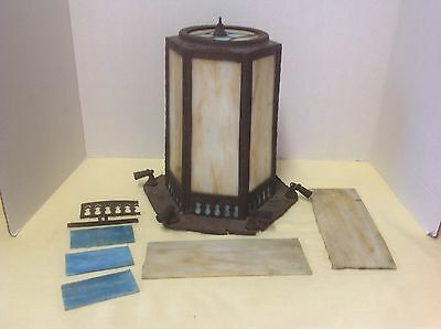 Antique Light Lamp Hanging Fixture Cream Brown And Blue Slag Glass Repair Parts