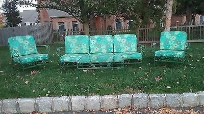 Vtg Wrought Iron Mid Century 5 Pc Patio Set Sofa Chairs Vinyl Woodard Salterini?