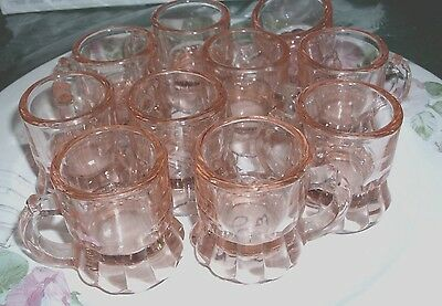 Vintage Pink Depression Glasses, Mini Beer Mugs, Shot Glasses, TEN Total