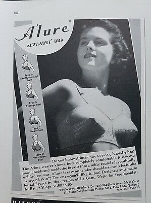 1939 women's Alure alphabet bra Warner Brothers A'lure fashion ad