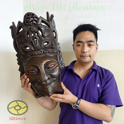 Chinese Folk Art Wood Hand Carved NUO MASK Walldecor Art - The God of Land