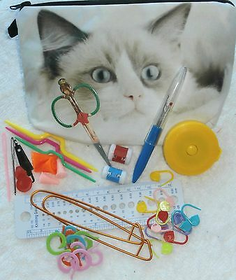 KNITTING TOOLS KIT - DELUXE LARGEST PRINTED BAG - YOU CHOOSE PRINT - 42 pieces