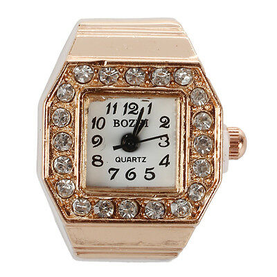 Square Dial Crystal Decor Elastic Finger Ring Watch Copper Tone for Z5O6