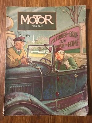 MOTOR MAGAZINE April 1940 Great Vintage Cover Art Ads