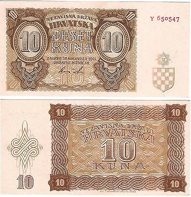 CROATIA 10 Kuna (30.8.1941) Pick 5, Almost Uncirculated *XRARE*