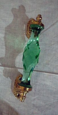 Antique Style Crystal Cut Glass Door Cabinet Handle Green Brass Puller Decor New