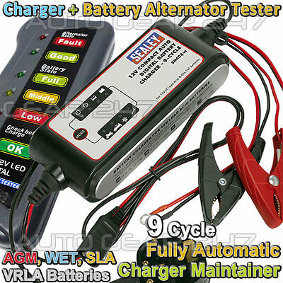 12v 4A Car Van 9 Cycle Automatic Battery Charger Maintainer + Alternator Tester