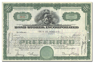Bond Stores, Incorporated Stock Certificate (Times Square Clothier, Billboard)