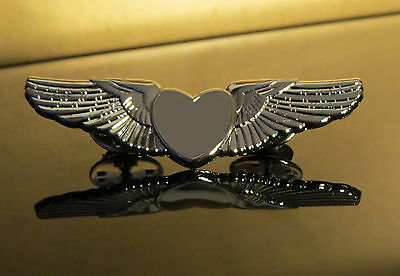 WINGS SILVER HEART Pin Golden Wings for Pilots & Aircrew 50mm