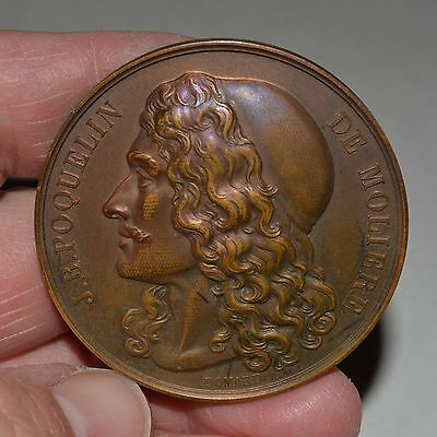 French Bronze Medal J.B. POQUELIN DE MOLIERE, by DOMARD, 1873