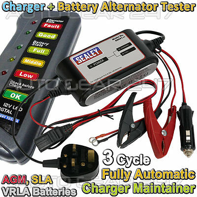12v 2A Car Van 3 Cycle Automatic Battery Charger Maintainer + Alternator Tester