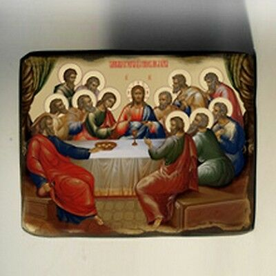 Handmade copy ancient ORTHODOX CHURCH ICON Jesus Christ The Last Supper 144M