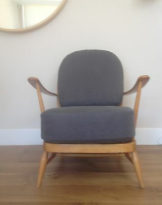New Cushions & Covers For Ercol 203 Armchair In A Linen Mix - Charcoal Fabric