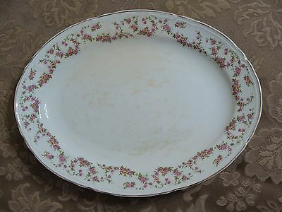 Vintage Edwin M. Knowles China Co Semi Vitreous Platter W/ Pink Roses, Made USA