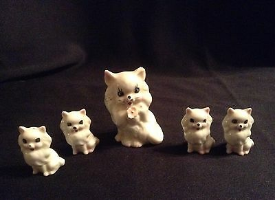 Vintage Porcelain Ornaments Cat and Kittens - 5 Items