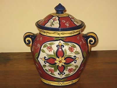 Pier 1 Vallarta Cookie Jar Canister Tuscan Reds Yellow Blue MINT!!
