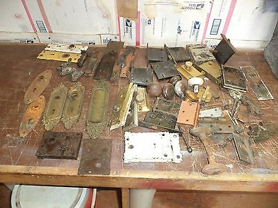 large LOT OF  VINTAGE door hardware brass cast iron some dated 1870