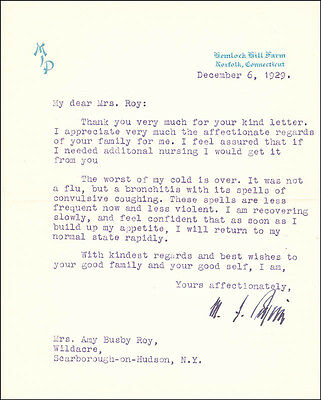 Michael I. Pupin - Typed Letter Signed 12/06/1929
