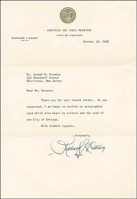Richard Daley - Typed Letter Signed 10/22/1968