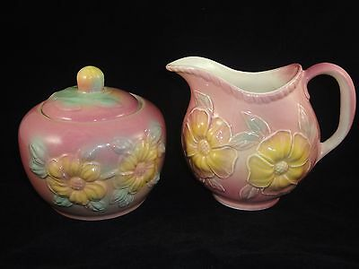 Vtg HULL Sunglow Pink Pottery Yellow Grease Pot Jar Pitcher LOT 2 Mid Century