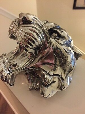 Tiger Head Chrome Wall Mount amazing detail 7 x 7 art eye of the tiger art
