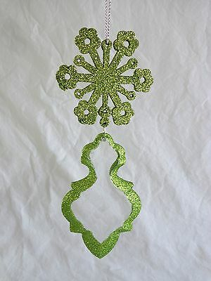 """Christmas Ornament GREEN GLITTER SNOWFLAKE 6.5"""" with Dangling Glass Pendant"""