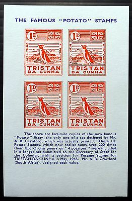 "TRISTAN DA CUNHA 1d Penguin ""Potato"" M/Sheet Essay Design NB2084"