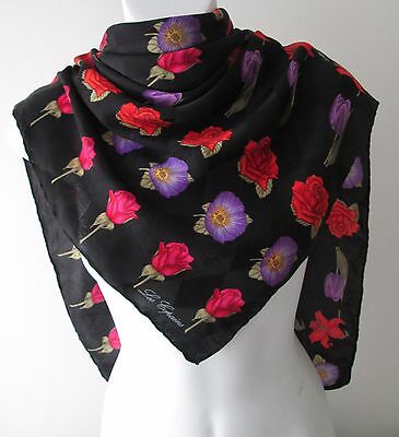A Stunning Vintage Les Copains Flowers on Black Silk Scarf  (7805x)