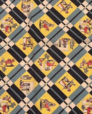 Vintage Feed/Flour Sack CottonFabric 2Tone Blue Yellow Sml Square Novelty 17x22