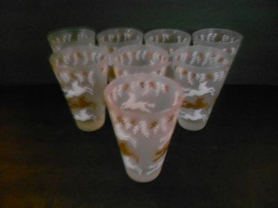 "8 Libby ""cavalcade"" Gold & White Horses On Frosted 12 Oz Tumblers"